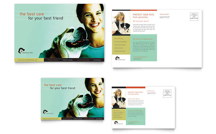 Veterinary Clinic Postcard Template - Word & Publisher