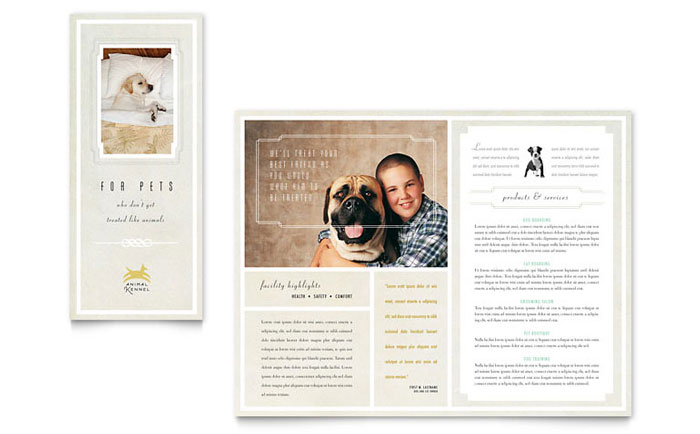 Pet hotel spa brochure template word publisher for Hotel brochure templates free download