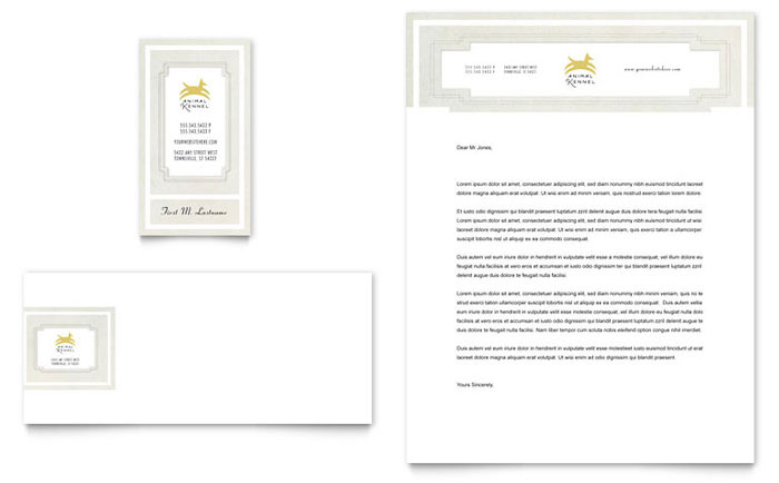 Pet Hotel & Spa Business Card & Letterhead Template - Word & Publisher