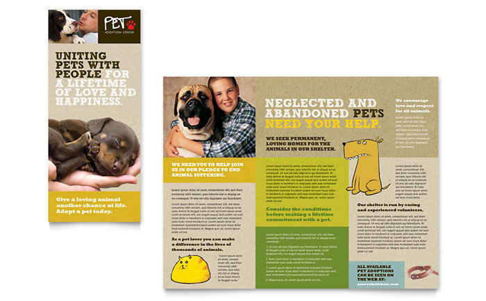 Animal shelter pet adoption tri fold brochure template for Dog adoption flyer template