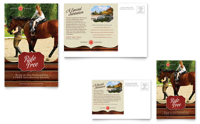 horse riding stables  u0026 camp postcard template