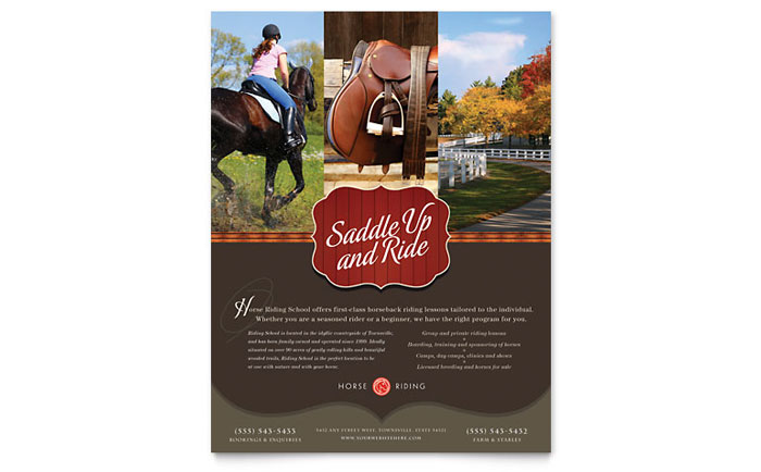 Horse Riding Stables & Camp Flyer Template - Word & Publisher