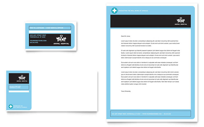 Animal Hospital Business Card & Letterhead Template - Word & Publisher