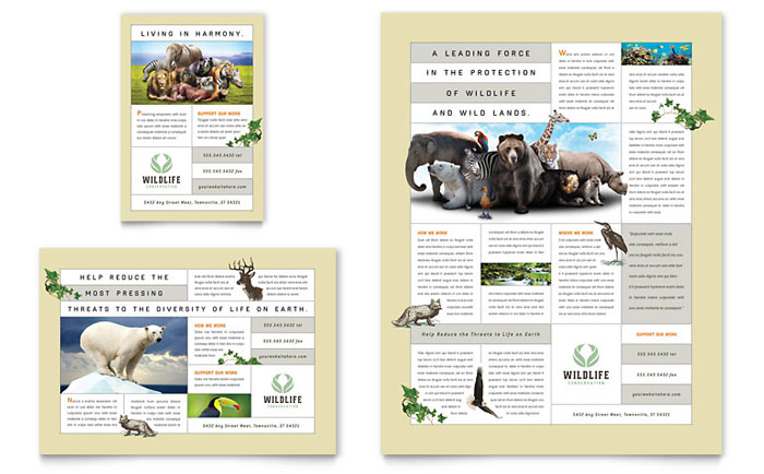 Nature wildlife conservation flyer ad template word for Microsoft publisher brochure template
