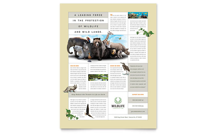 Nature & Wildlife Conservation Flyer Template - Word & Publisher