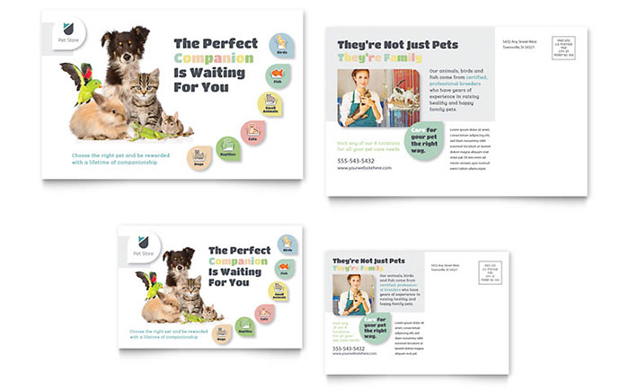 Pet Store Postcard Template - Word & Publisher