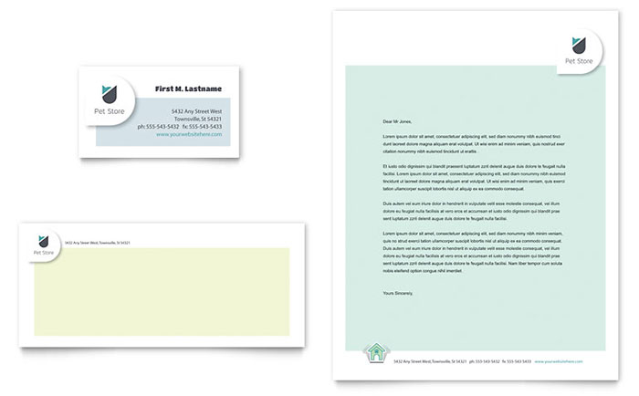 Pet Store Business Card & Letterhead Template - Word & Publisher
