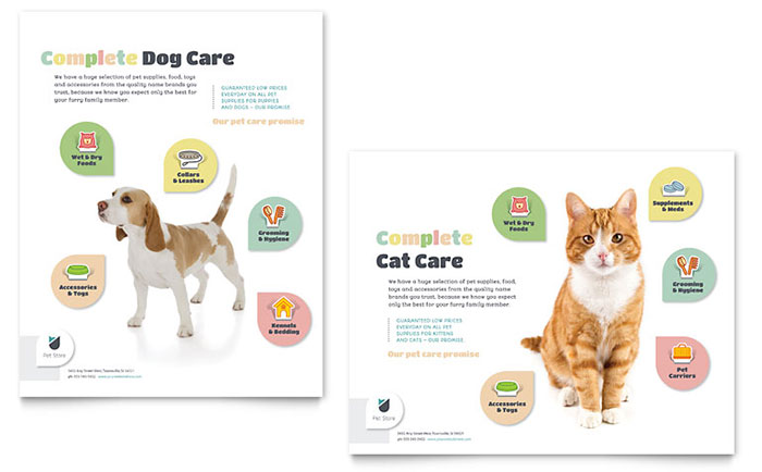 pet supply store flyer template .