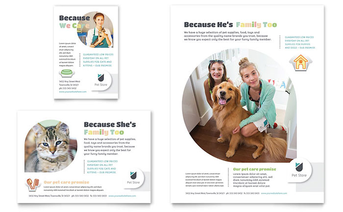 Pet Store Flyer & Ad Template - Word & Publisher