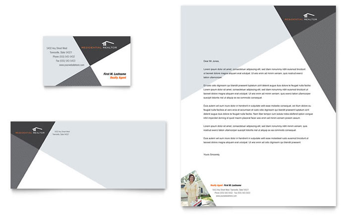 Contemporary & Modern Real Estate Business Card & Letterhead Template - Word & Publisher