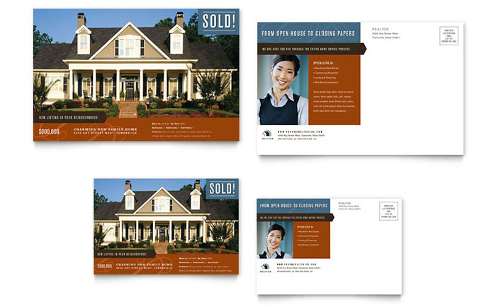 Residential Realtor Postcard Template - Word & Publisher