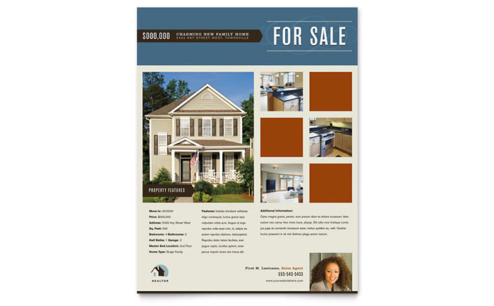 Residential realtor flyer template word publisher for Home for sale by owner flyer template