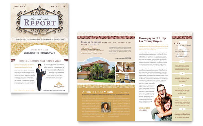 Luxury real estate newsletter template word publisher for Realtor newsletter templates