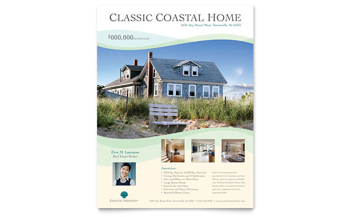 coastal real estate flyer template word publisher. Black Bedroom Furniture Sets. Home Design Ideas
