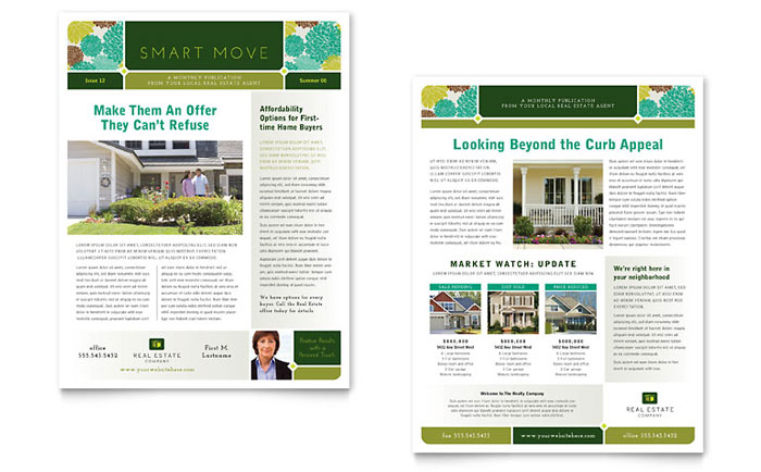 Real Estate Newsletter Templates RE0090301D on Real Estate Flyer Templates Free Microsoft Word