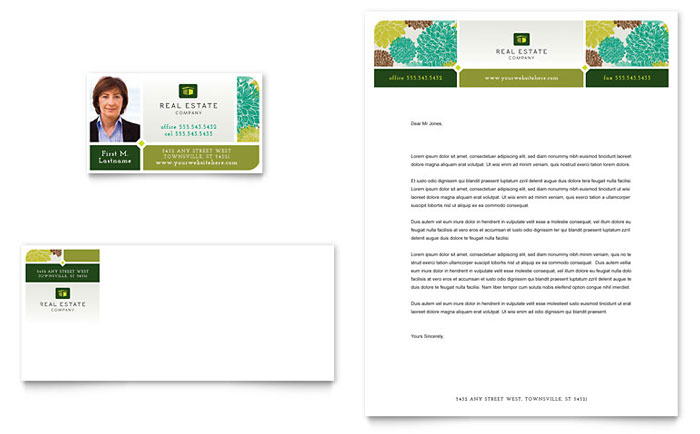 Real Estate Business Card & Letterhead Template - Word & Publisher