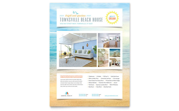 Beach house flyer template word publisher for Microsoft publisher brochure templates free