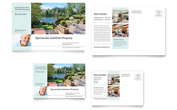 Lakefront Property Postcard Template - Word & Publisher