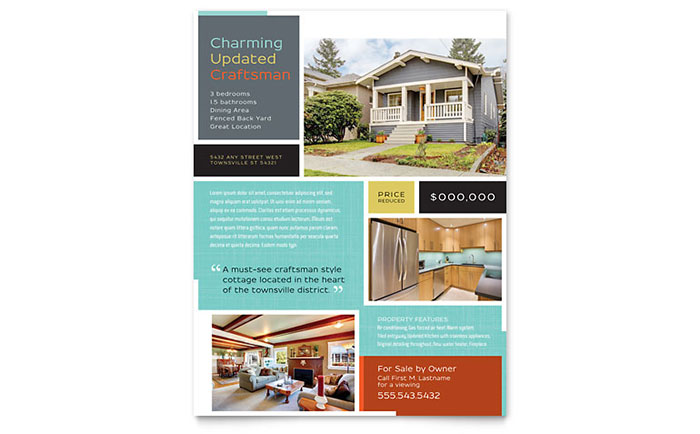 Craftsman Home Flyer Template - Word & Publisher