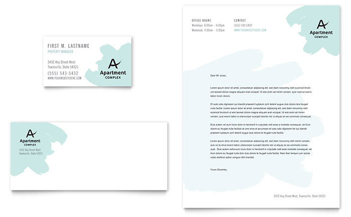 Apartment Business Card & Letterhead Template - Word & Publisher