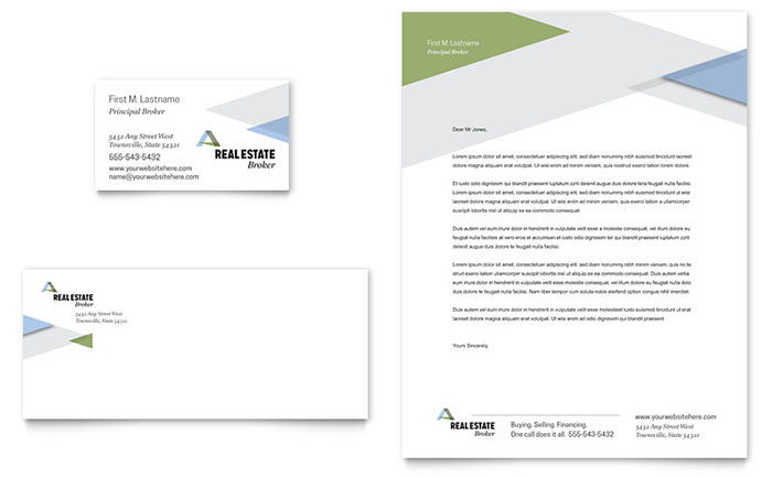 Realtor Business Card & Letterhead Template - Word & Publisher