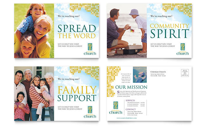 Christian church postcard template word publisher for Free church flyer templates microsoft word