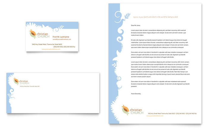 Christian Church Business Card & Letterhead Template - Word & Publisher