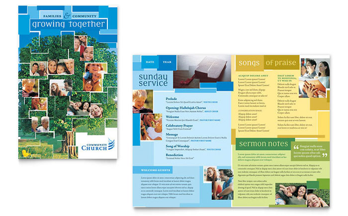 Community Church Brochure Template - Word & Publisher
