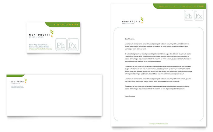 Environmental & Agricultural Non Profit Business Card & Letterhead Template - Word & Publisher