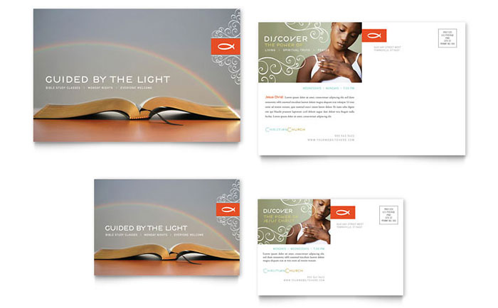 christian church religious postcard template word