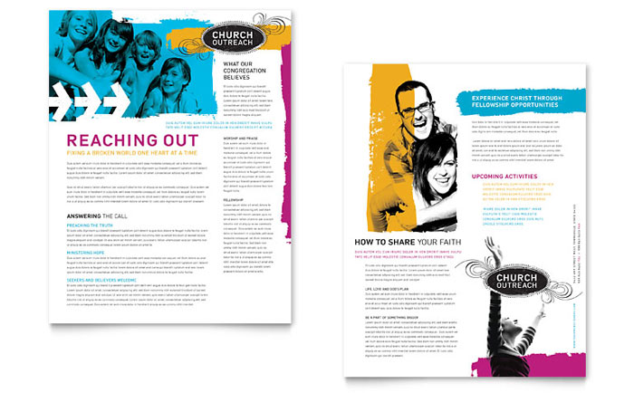 Church Outreach Ministries Datasheet Template - Word & Publisher