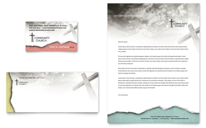 Bible church business card letterhead template word for Christian letterhead templates free