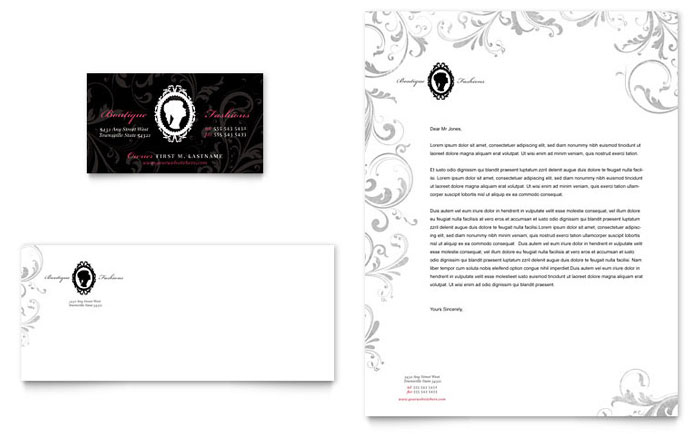 Formal Fashions & Jewelry Boutique Business Card & Letterhead Template - Word & Publisher