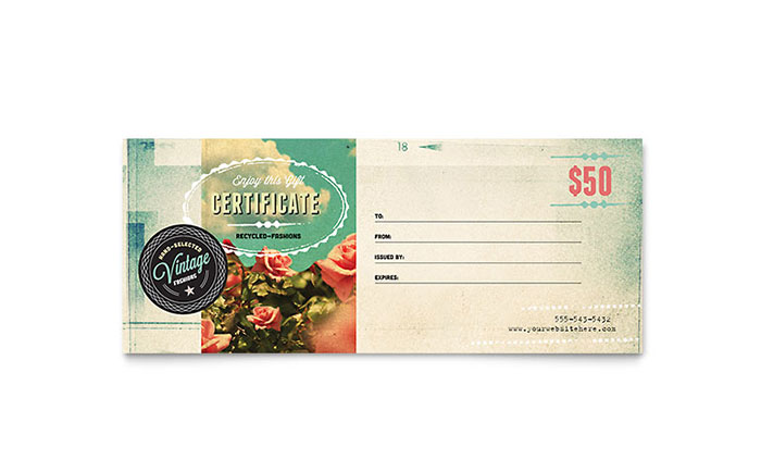 Vintage Clothing Gift Certificate Template - Word & Publisher