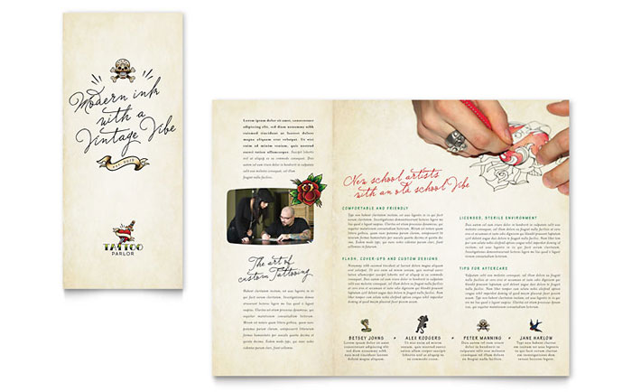 Body Art & Tattoo Artist Brochure Template - Word & Publisher