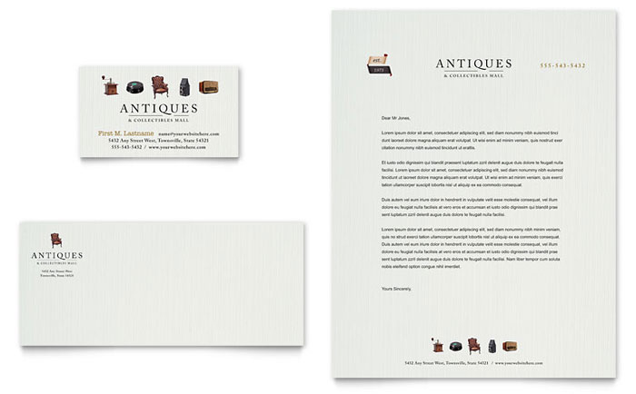 Antique Mall Business Card & Letterhead Template - Word & Publisher