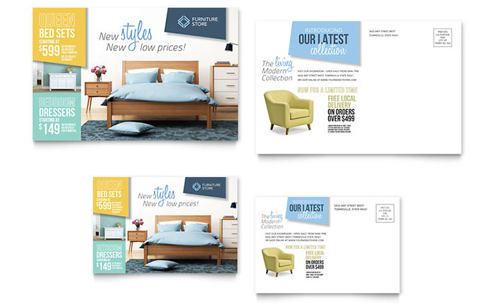 Home Furnishings Postcard Template - Word & Publisher