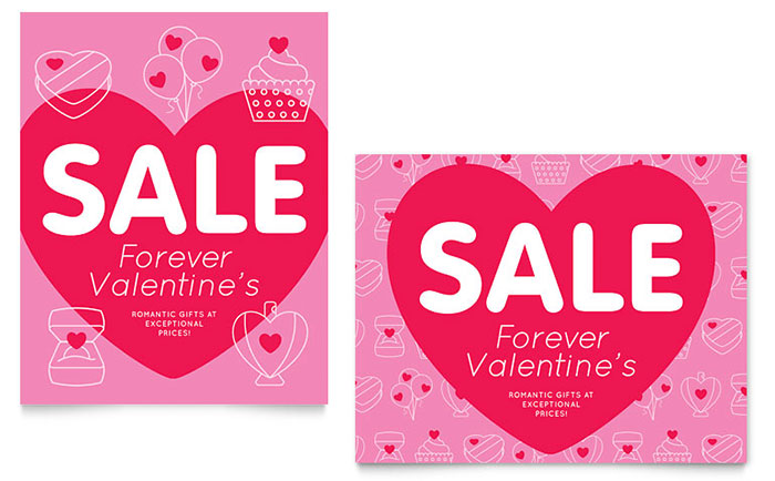 Valentine's Day Sale Poster Template - Word & Publisher