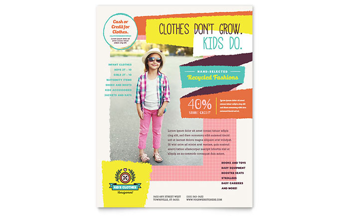Kids Consignment Shop Flyer Template - Word & Publisher