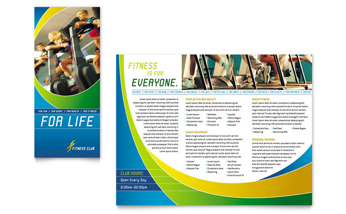 Sports health club brochure template word publisher for Personal brochure templates