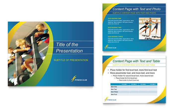 Sports & Health Club PowerPoint Presentation Template - PowerPoint