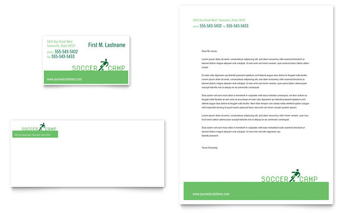 Soccer Sports Camp Business Card & Letterhead Template - Word & Publisher