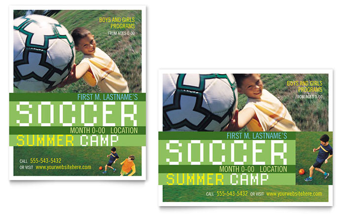 Soccer Sports Camp Poster Template - Word & Publisher