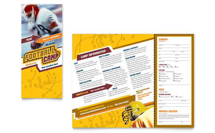 Football sports camp brochure template word publisher for Sports brochure templates