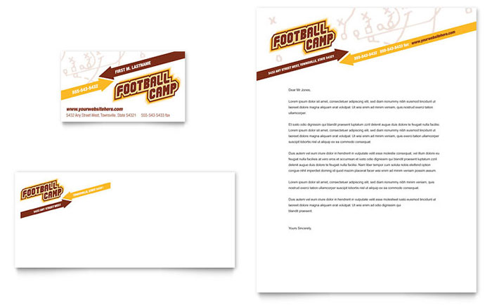 football sports camp business card  u0026 letterhead template