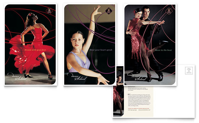 Dance School Postcard Template - Word & Publisher