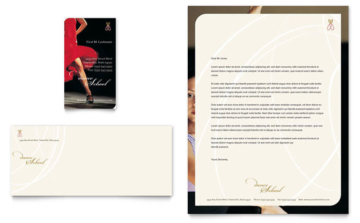 Dance School Business Card & Letterhead Template - Word & Publisher