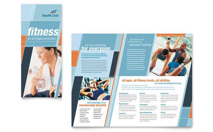 home health care brochure templates - health fitness gym brochure template word publisher