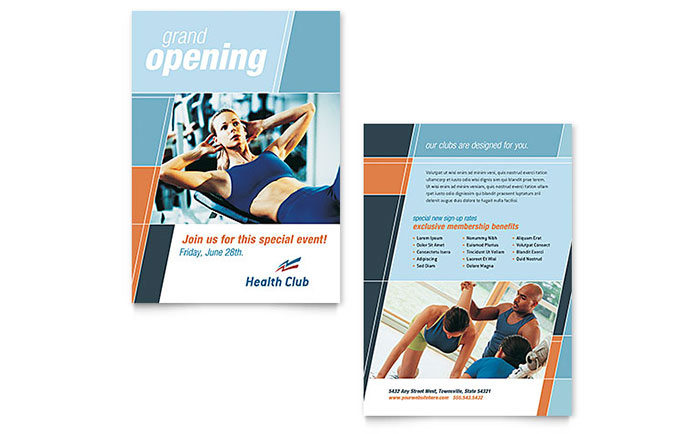 Health & Fitness Gym Announcement Template - Word & Publisher