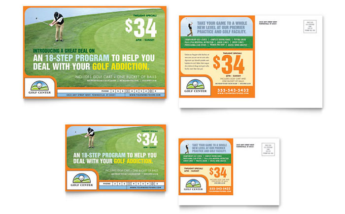 Golf Instructor & Course Postcard Template - Word & Publisher